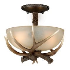 Yoho Faux Antler and Black Walnut Semi-Flushmount Light