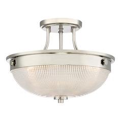 Transitional Semi-Flushmount Light Polished Nickel Quoizel Fixture by Quoizel Lighting