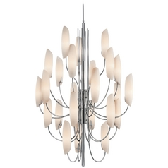 Kichler Modern Chandelier with White Glass in Chrome Finish