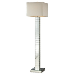 Modern Floor Lamp with White Shade in Clear Finish