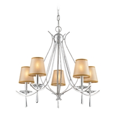 Chandelier with Beige / Cream Shades in Silver Finish