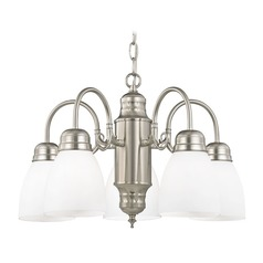 Mini-Chandelier with White Glass in Satin Nickel Finish