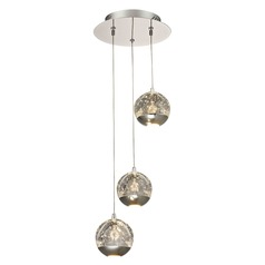 Design Classics Oui Chrome LED Multi-Light Pendant with Globe Shade