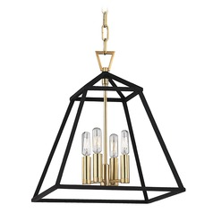 Webster 4 Light Pendant Light - Aged Brass