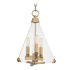 Hudson Valley Lighting Triad Aged Brass Pendant Light