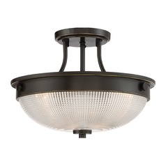 Transitional Semi-Flushmount Light Bronze Quoizel Fixture by Quoizel Lighting