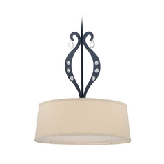 Modern Drum Pendant Light with Beige / Cream Shade in Black Finish