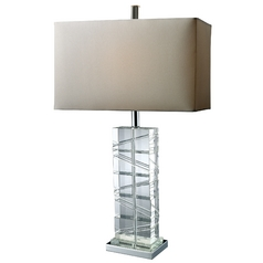 Table Lamp with White Shade in Chrome and Crystal Finish