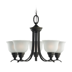 Sea Gull Lighting 5-Light Chandelier with White Glass in Heirloom Bronze