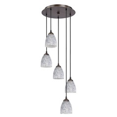 Design Classics Lighting Modern Multi-Light Pendant with Art Glass and Five Lights 580-220 GL1025MB