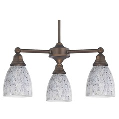 Mini-Chandelier with Grey Art Glass in Neuvelle Bronze Finish
