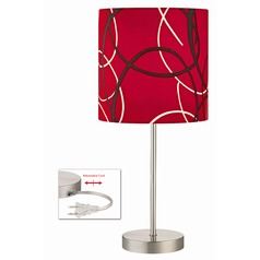 Satin Nickel Table Lamp with Red Pattern Drum Shade