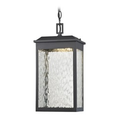 Elk Lighting Newcastle Textured Matte Black LED Outdoor Hanging Light