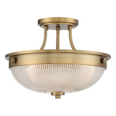 Transitional Semi-Flushmount Light Brass Quoizel Fixture by Quoizel Lighting
