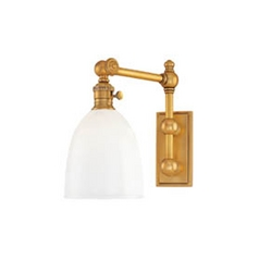 Swing Arm Lamp with White Glass in Aged Brass Finish
