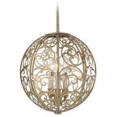 Pendant Light In Silver Leaf Patina Finish