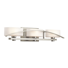 Kichler Brushed Nickel Modern Bathroom Light with White Glass