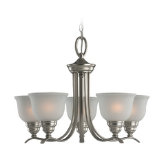 Sea Gull Lighting 5-Light Chandelier with White Glass in Brushed Nickel