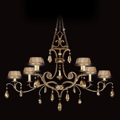 Fine Art Lamps Golden Aura Aged Gold Patina Crystal Chandelier