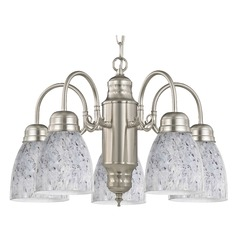 Mini-Chandelier with Grey Art Glass in Satin Nickel Finish