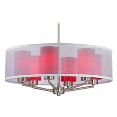 Organza Drum Pendant Light Satin Nickel with Red Glass 6-Light