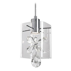 Crystal Chrome LED Mini-Pendant with Clear Shade 3000K 300LM