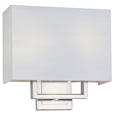 Modern Sconce Wall Light with White Shades in Satin Nickel Finish