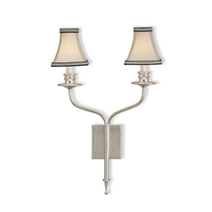 Plug-In Wall Lamp with White Shade in Contemporary Silver Leaf Finish