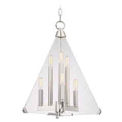 Mid-Century Modern Pendant Light Polished Nickel Triad by Hudson Valley Lighting