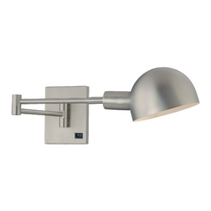 Modern Swing Arm Lamp in Matte Brushed Nickel Finish