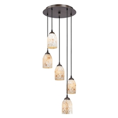 Bronze Multi-Light Pendant Light with Mosaic Glass Dome Shades