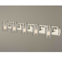 Industrial Seeded Glass Bathroom Light Satin Nickel 5 Lt
