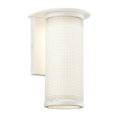 Modern Outdoor Wall Light with White Glass in Satin White Finish