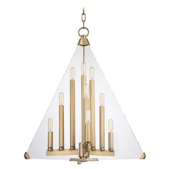 Mid-Century Modern Pendant Light Brass Triad by Hudson Valley Lighting