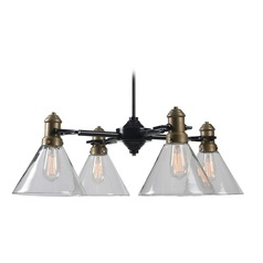 Mid-Century Modern Chandelier Brass with Oil Rubbed Bronze Outlook by Kenroy Home