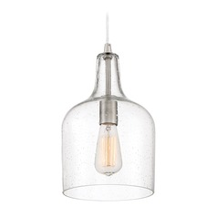 Seeded Glass Pendant Light Brushed Nickel Quoizel Piccolo Pendant by Quoizel Lighting