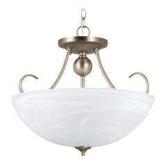 Sea Gull Lighting Lemont Antique Brushed Nickel LED Pendant Light with Bowl / Dome Shade