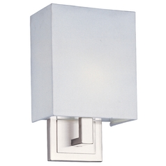 Modern Sconce Wall Light with White Shade in Satin Nickel Finish