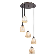 Bronze Multi-Light Pendant Light with Mosaic Bell Glass