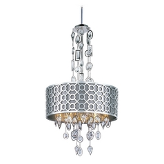 Crystal Drum Pendant Light with Grey Shade in Polished Nickel Finish