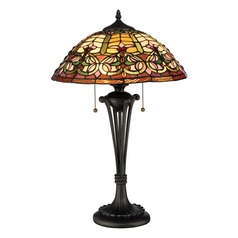 Quoizel Lighting Tiffany Dark Bronze Table Lamp with Bowl / Dome Shade