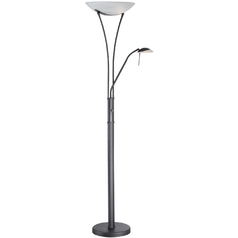 Lite Source Lighting Torchiere Lamp with White Glass in Black Finish LS-81699BLK/FRO