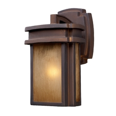 Outdoor Wall Light with Beige / Cream Glass in Hazlenut Bronze Finish