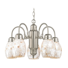 Mini-Chandelier with Mosaic Glass in Satin Nickel Finish