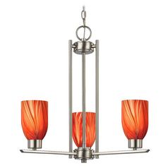 Chandelier with Red Glass in Satin Nickel Finish - 3-Lights