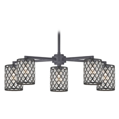 Crystal Matte Black & Phoenix 5-Light Chandelier