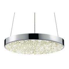 Sonneman Dazzle Polished Chrome LED Pendant Light with Drum Shade
