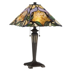 Quoizel Lighting Tiffany Imperial Bronze Table Lamp with Square Shade