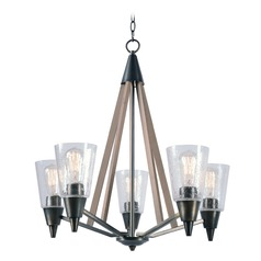 Mid-Century Modern Chandelier Aged Metal with Light Wood Peak by Kenroy Home