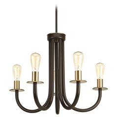 Progress Lighting Swing Antique Bronze with Natural Brass Chandelier